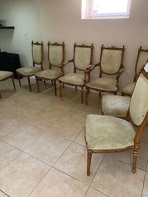 Antique Italian Wood Arm Chairs Set Of 8 Gold Accent Fabric Ornate Pickup ONLY