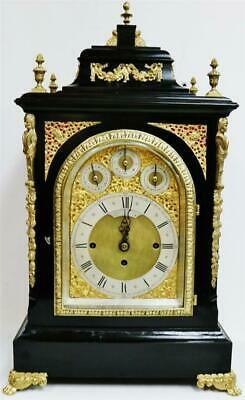 Rare Antique Ebonised & Ormolu Triple Fusee Musical 8 Bell Bracket Clock
