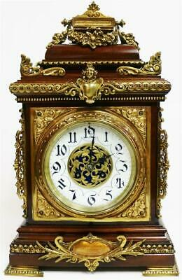 Sublime Antique French 8 Day Mahogany & Bronze Mounted Cube Mantel Clock
