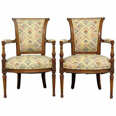 Fine Pair French Carved Walnut Louis XVI Regency Style Fauteuils Arm Chairs