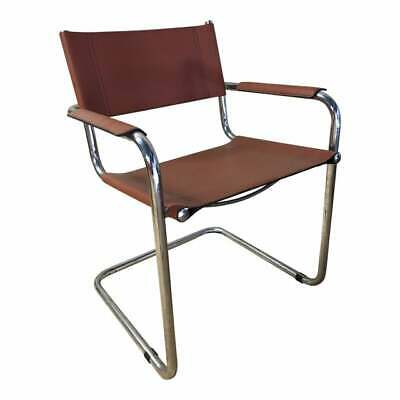 Vintage Mid Century Mart  Stam Chrome Leather Cantilevered Chair 1970s