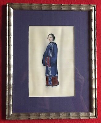 Antique 18th 19th c. Chinese Pith Painting Court Lady in Silver Gilt Wood Frame