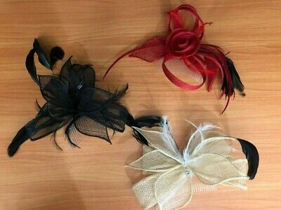 3x Fascinator Red Black Feather Hair Comb Womens Accessories Races Spring Racing