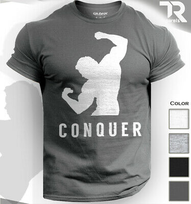 Conquer Arnold Schwarzenegger Bodybuilding Gym Motivation Tshirt Top Tee Workout