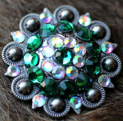 4 Conchos Rhinestone Horse Saddle Bridle Tack Emerald Western Berry Bling CO32
