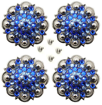 4 Conchos Rhinestone Horse Saddle Western Rodeo Bridle Berry Blue CO46