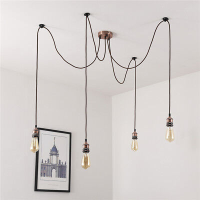 1.8M 4 Heads Copper Cluster Industrial Hanging Pendant E27 Ceiling Light Lamp