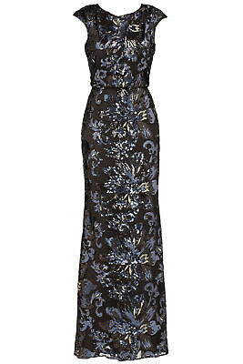 Badgley Mischka Women's Dress Black US Size 6 Keyhole Sequin Gown $695- #303