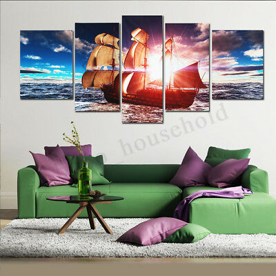 5Pcs Uframed Sunset Modern Art Canvas Oil Painting Picture Print Home Wall