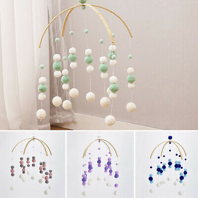 Baby Crib Mobile Bed Bell Toy Holder Arm Bracket Wind-up Wooden Beads Room Decor