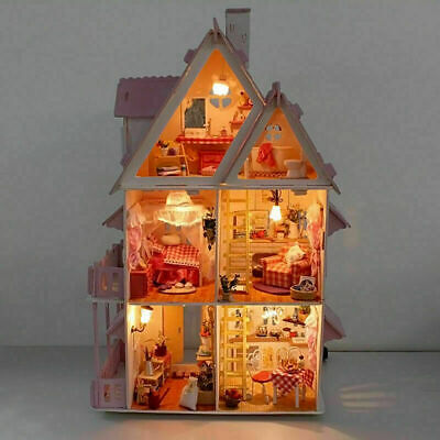 1 Set Doll House Wooden Cottage with Furniture Construction Girl_Play Kids H6B9
