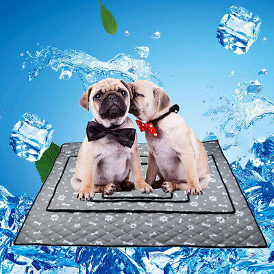 ITS- Summer Pet Dog Cooling Mat Car Seat Bone Claw Pattern Blanket Bed Cushion n