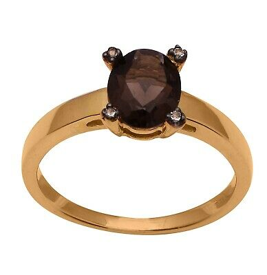 14Kt Yellow Gold Plated Smoky Quartz stone 925 Sterling Silver Solitaire Ring