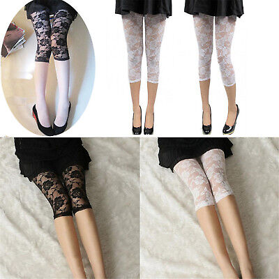 Ladies Short Cropped Stretchy Jeggings Trim Lace Bottom Womens Leggings Pant E3