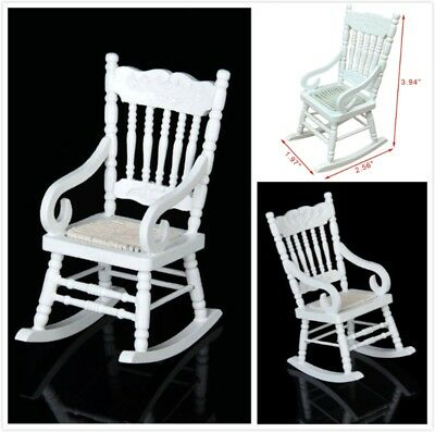 1:12 Dollhouse Miniature Furniture White Wooden Rocking Chair Hemp Rope Seat Q