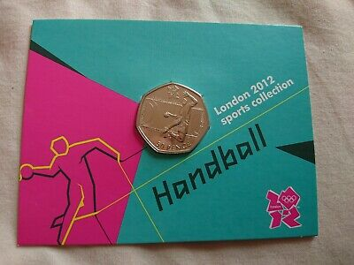London 2012 Olympic HANDBALL 2011 50p Fifty Pence BU Coin Official Sealed Card