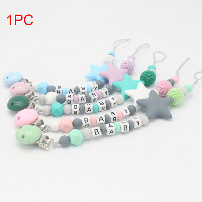 Pacifier Clip Baby Colorful Teething Dummy Chain Toy Gift Silicone Soother Chew