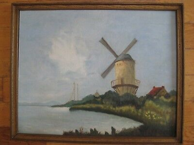 Vintage Plein Air Impressionist Landscape Dutch Mill Signed Mystery Framed Old