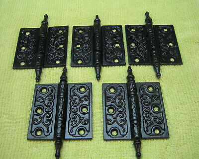 "Pair Antique Victorian Cast Iron Eastlake 3-1/2"" Steeple Finial Hinges 1880's"