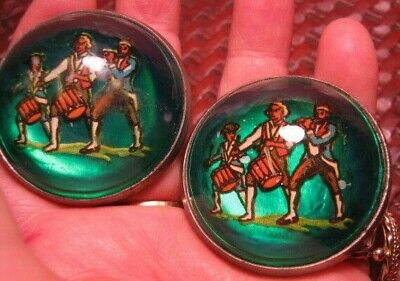 AUTHENTIC Marching Men GREEN Domed GLASS BRIDLE ROSETTES CHAPMAN Minnesoto