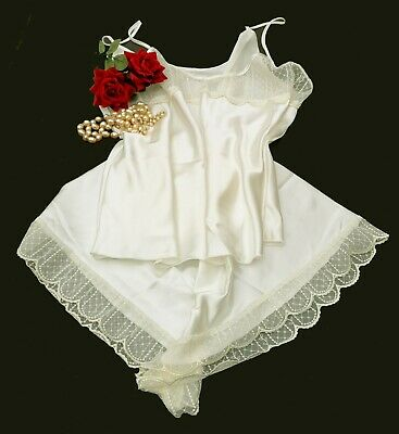 Elegant Satin /& Lace Cami Top French Knicker Set Baby Blue Size 26//28         14