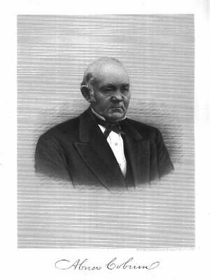 ABNER COBURN, Skowhegan, Governor of Maine, antique engraving 1882