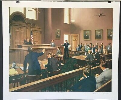 """Jimmy Dyer """"Objection!"""" Signed & Numbered 1352/9500 Courtroom, Law Art, Unframed"""