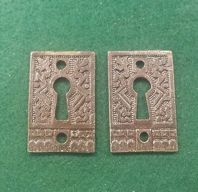 PAIR Keyhole covers CAST IRON Victorian Style Pattern. Really different.  (3EB)