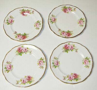 Set Of 4 Vtg. Royal Albert American Beauty Dinner Plates - Excellent Condition