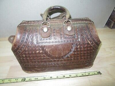Vintage heavy Tooled Leather Curved Salesman Doctor's Bag  Mexican Mayan motif