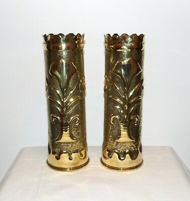 Pair Large Heavy Antique French WW1 Trench Art Vases. Beautiful design
