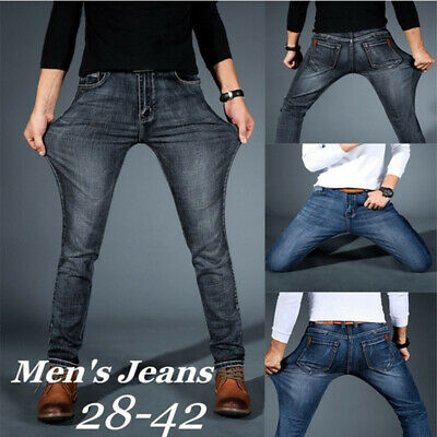 Men's Straight Leg Skinny Jeans Stretch Slim Fit Denim Pants Casual Trousers