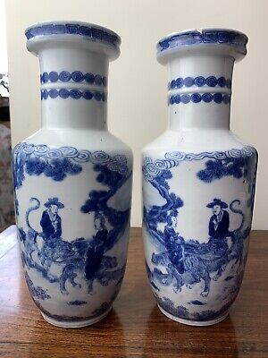 pair of antique chinese blue and white vase