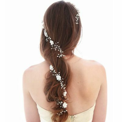AU 110cm White Flower Bridal Vine Tiara Crown Headbands Chain Wedding Hair
