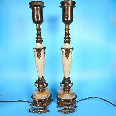 Pair VTG Rembrandt Lamps Hollywood Regency Art Deco 20s Marble MCM Brass Finials
