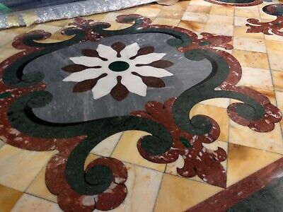"""Spectacular Pietre Dura INLAY Marble Dining Table 86"""" by 44"""" Double Pedestal"""