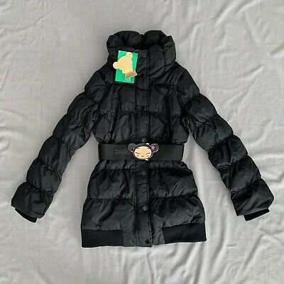 NWT UNITED COLORS OF BENETTON Kids GIRLS PUCCA BLACK PUFFER COAT 130 M SZ 7 - 8