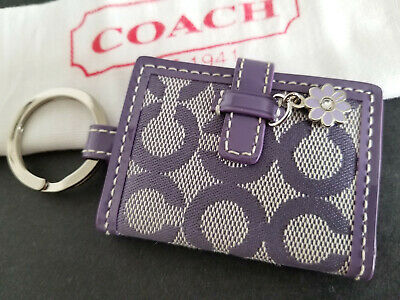 Coach OP Art Large Purple Picture Frame Key Fob Keychain Key Ring Charm NEW