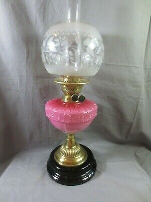 Antique Victorian Brass And Cranberry Glass Oil Lamp With Duplex Oil Lamp Shade