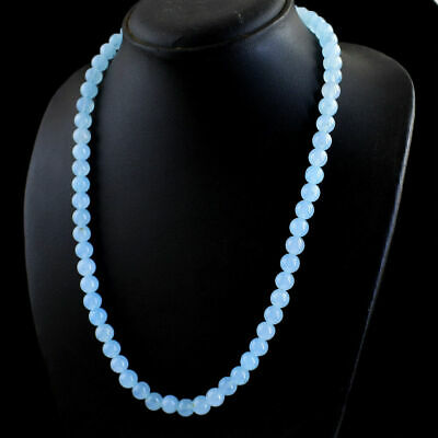 Natural 8mm Blue Chalcedony Gemstone Round Shape Beads Necklace 22 inch