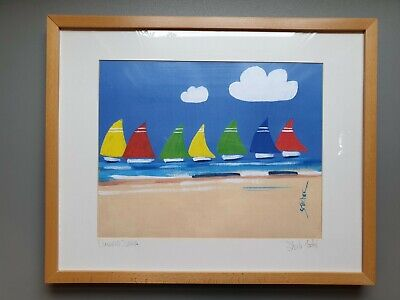 Kids Picture Artist Signed Print 'Coloured Sails' by Sheila Tocher in Oak Frame