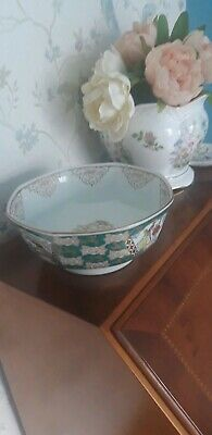 Gold Imari green bowl with birds japanese hand painted