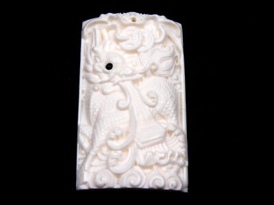 Solid Bone Highly Detailed Hand Carved Pendant Monster Kirin Spew Wave #12021808