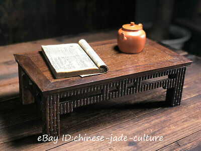 "15"" Old China Huanghuali Wood Classical Bamboo Furniture Dining Center Tea Table"