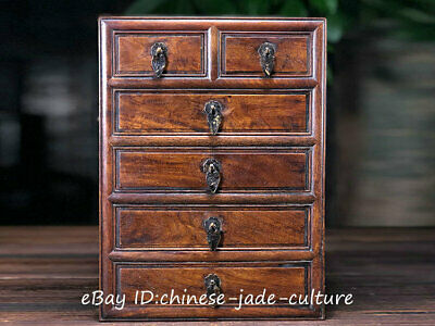 """13"""" Old Huanghuali Wood Handle Drawer Table Desk Cupboard Cabinet Container"""