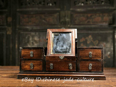 """18"""" Old Huanghuali Wood Mirror Drawer Table Desk Cupboard Cabinet Jewelry Case"""
