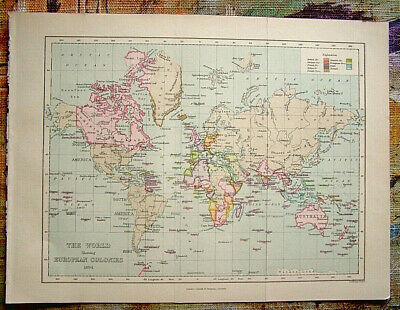 Antique Map: World Showing European Colonies F S Weller / Cassell, 1894, Litho