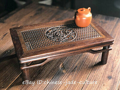 """15"""" China Huanghuali Wood Carving Fu Classical Furniture Dining Center Tea Table"""