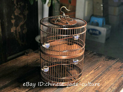 "18"" Old China Huanghuali Wood Handwork Double Deck Noble Classical Birdcage Coop"