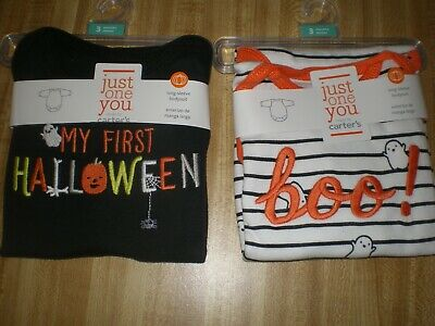 2 Baby Boy or Girls Halloween Bodysuits by Carters NEW Size 3M or 12M